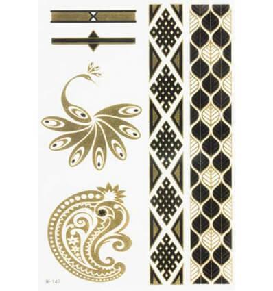 Tatouage Éphémère Métallique Paon Bracelets