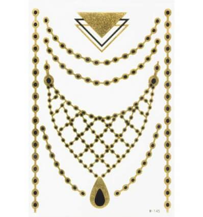 Tatouage Éphémère Métallique Collier Perles