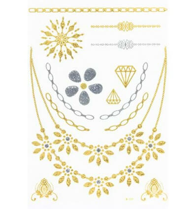 Tatouage Éphémère Métallique Collier Diamant