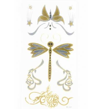 Tatouage Éphémère Métallique Papillon Libellule