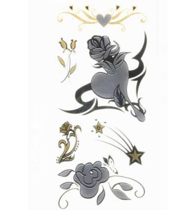 Tatouage Éphémère Métallique Rose Coeur