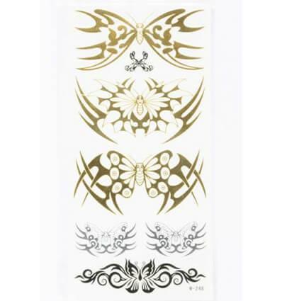 Tatouage Éphémère Métallique Papillons Dorés Noir