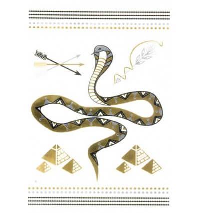 Tatouage Éphémère Métallique Cobra Pyramides