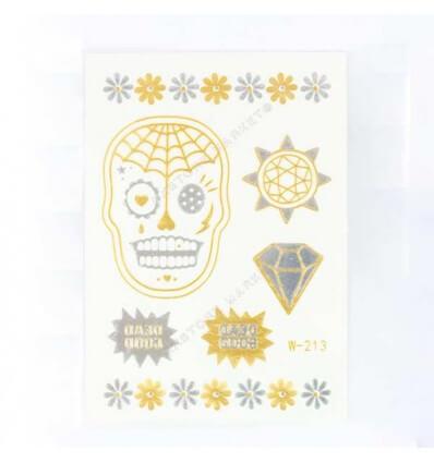 Tatouage Éphémère Métallique Mini Crane Diamant