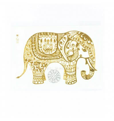 Tatouage Éphémère Métallique Mini Eléphant