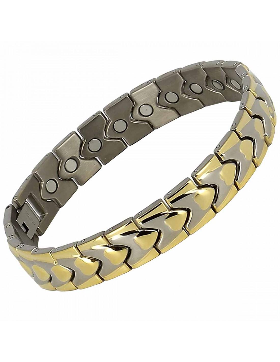 bracelet magnetique homme dor titane avec coeurs et. Black Bedroom Furniture Sets. Home Design Ideas