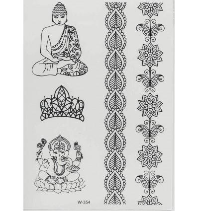 tatouage ph m re bouddha noir axstore market. Black Bedroom Furniture Sets. Home Design Ideas