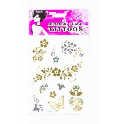 Tatouage Éphémère Métallique Fleurs Papillon