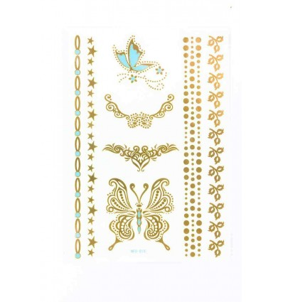 Tatouage Éphémère Métallique Papillons Bracelet