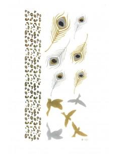 Tatouage Éphémère Métallique Oiseaux Plumes