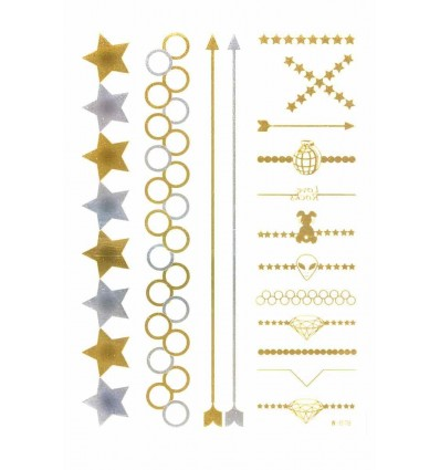 Tatouage Éphémère Métallique Flèches Diamants