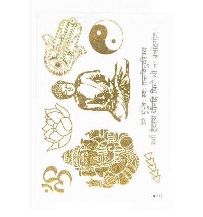 Tatouage Éphémère Métallique Bouddhas Fatima