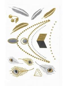 Tatouage Éphémère Métallique Colliers Plumes