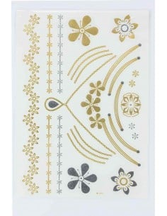 Tatouage Éphémère Métallique Collier Fleurs