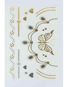 Tatouage Éphémère Métallique Collier Papillon