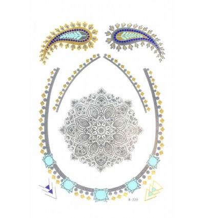 Tatouage Éphémère Métallique Rosace Collier