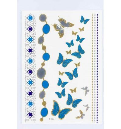 Tatouage Éphémère Métallique Papillons