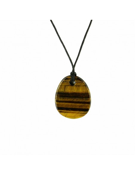 COLLIER PIERRE OEIL DE TIGRE VAGUE GRAND