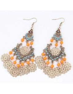 BOUCLES D' OREILLES CASCADE DE PERLES ORANGE BLEUE