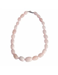 COLLIER PIERRES ROULÉES QUARTZ ROSE