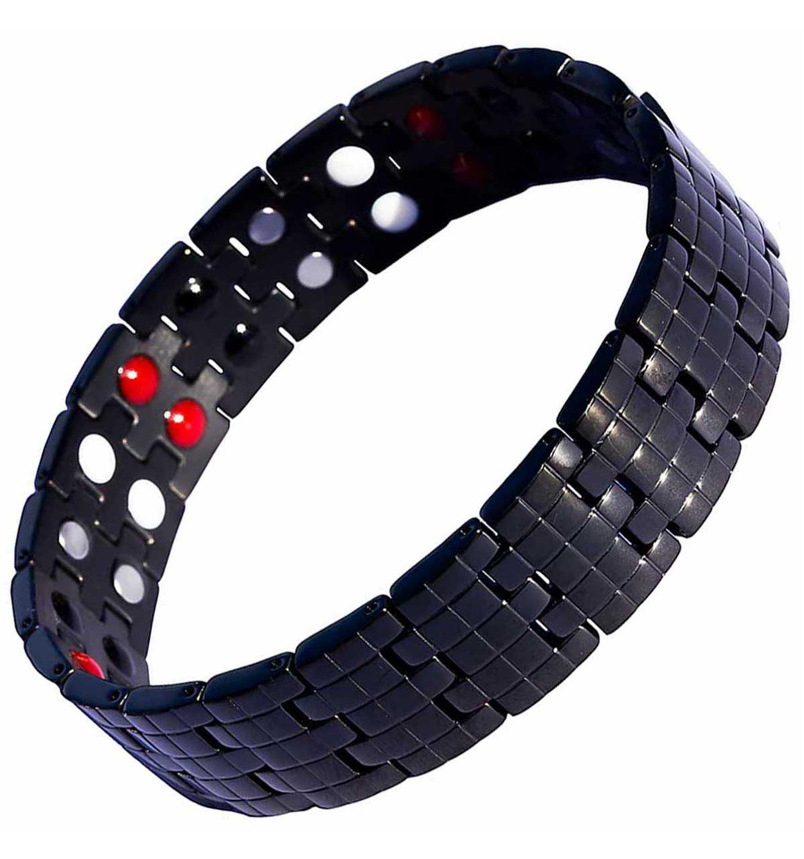 bracelet magnetique homme acier noir anti douleurs par. Black Bedroom Furniture Sets. Home Design Ideas