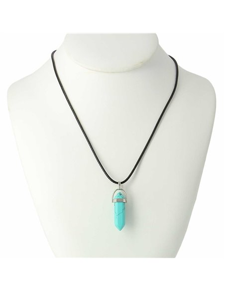 COLLIER PIERRE TURQUOISE HEXAGONAL Support