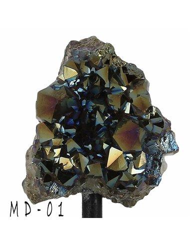 DRUSES D'AMÉTHYSTE TITANE SUR SUPPORT pour décoration d'intérieur, minéraux de collection- MD01