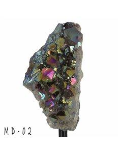 DRUSES D'AMÉTHYSTE TITANE SUR SUPPORT pour décoration d'intérieur, minéraux de collection- MD02