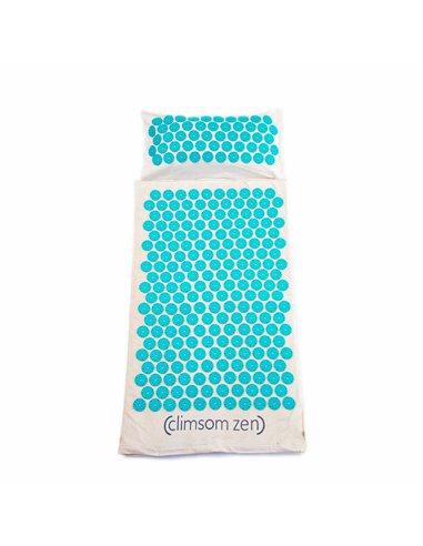 Pack Tapis et Coussin d'Acupression en coton et fibre de coco bleu