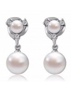 Boucles d'oreilles double perle argentées