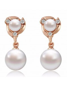 Boucles d'oreilles double perle dorées