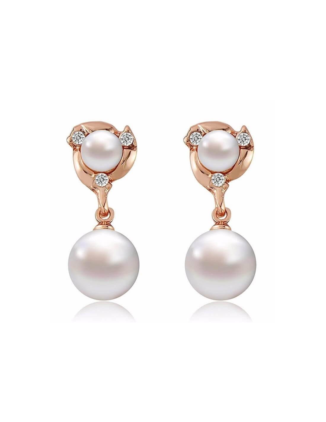 boucles d oreilles double perle en or bijoux de la saison 2018. Black Bedroom Furniture Sets. Home Design Ideas