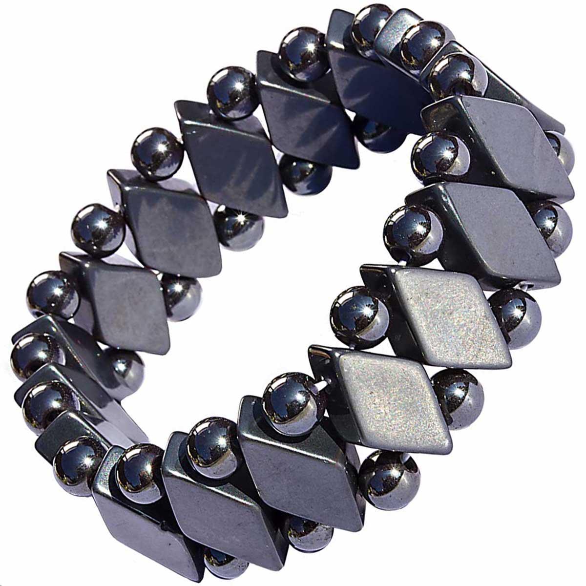 Bracelet pierre hematite losange
