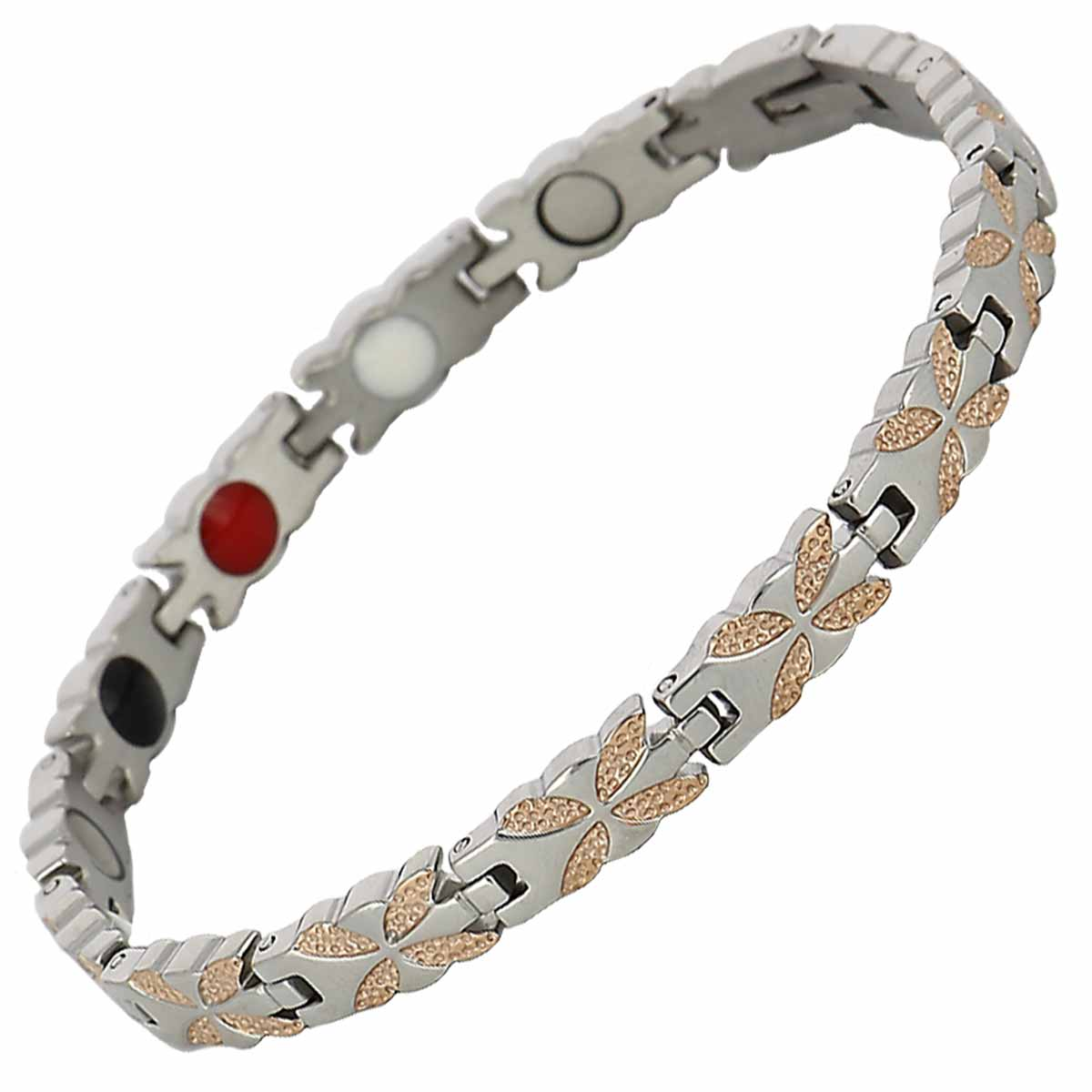 Bracelet magnétique Petales roses antistress et antidouleur avec aimants puissants